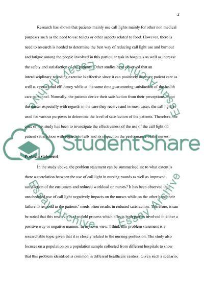 Quantitative Critique of Research Paper Effect of Nursing Rounds on Patients
