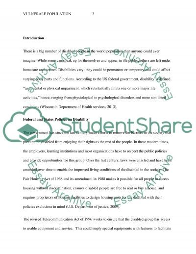 vulnerable population Essay example