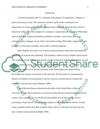 Educational Mission Statement essay example