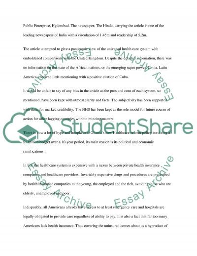 Newspaper Article essay example