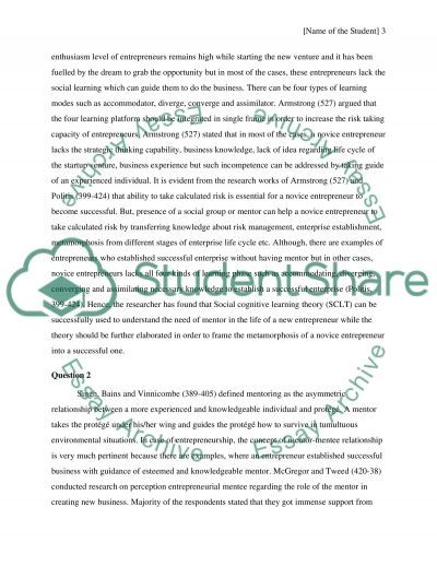 New venture development with the guidance of a mentor Essay example