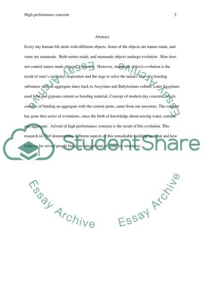 High performance concrete essay example