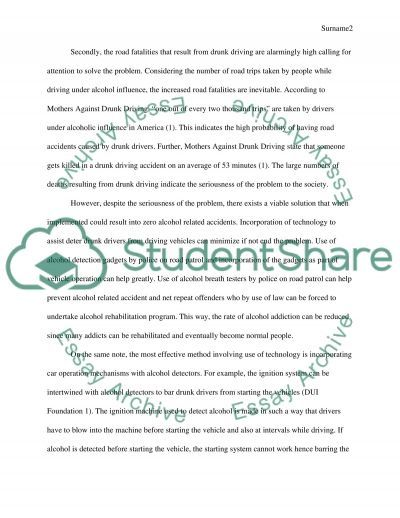 What is the best solution to preventing deaths from drunk driving this is a(problem solution) essay