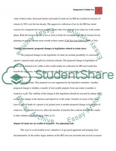 Assignment 4: Estate Tax essay example
