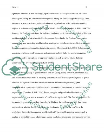 M6A2-Conflict essay example