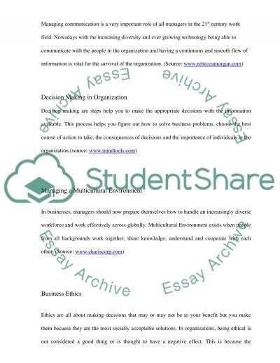Managing business organisation Essay essay example