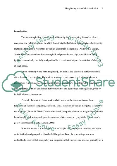 Educational Institutions and ProcessesMarginality essay example