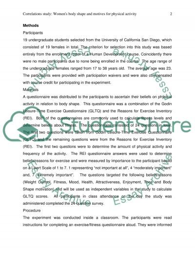Exercise correlation study (results and discussion) essay example