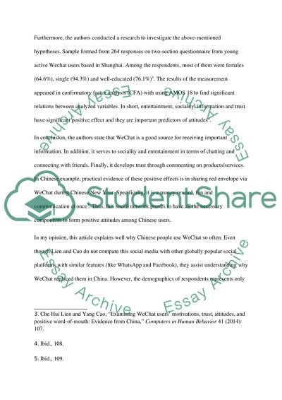 Examining WeChat users Article Review essay example