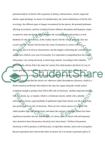 Electric fish in danger essay example