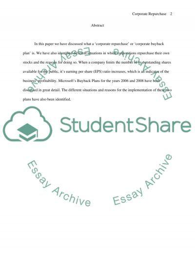 Corporate Repurchase essay example