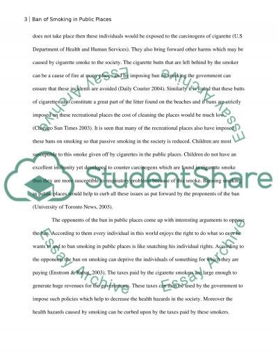Ban smoking in public places essay example