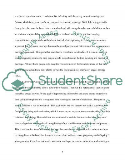 Same-Sex Marriage essay example