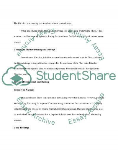 Filtration essay example