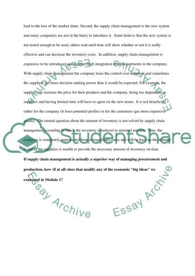 Supply and Production essay example
