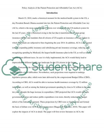 Affordable care act essay