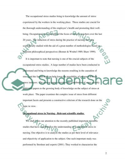 Occupational stress in Nursing essay example