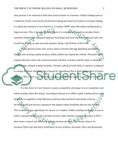 The impact of online selling on small businesses essay example