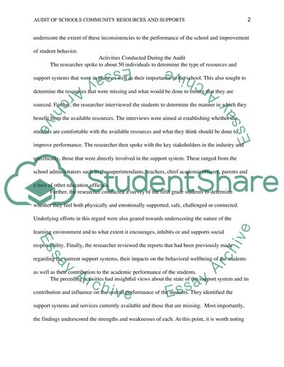 Audit of School Community Resources and Supports