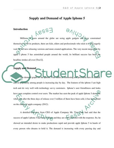 Supply and or demand paper on Apple iphone 5