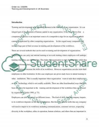 Training and Development in UK Business essay example