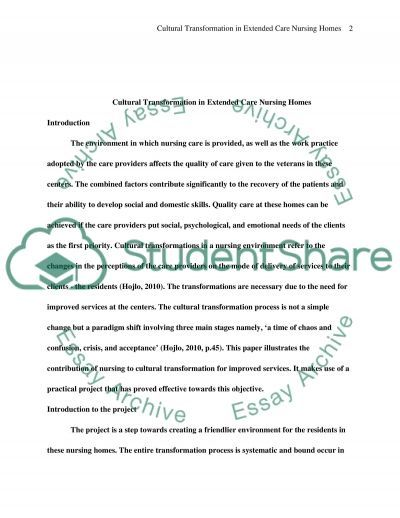 Cultural Transformation in Extended Care Nursing Homes essay example