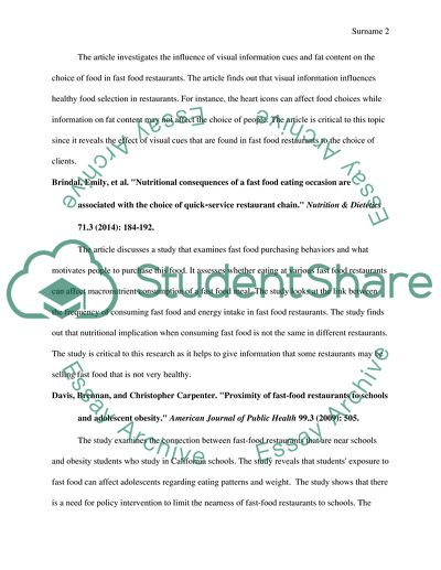 Annotated Bibliography For The Topic Affect Of Fast Food Restaurant