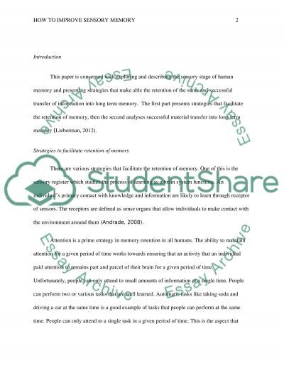 How To Improve Sensory Memory Essay Example Topics And Well