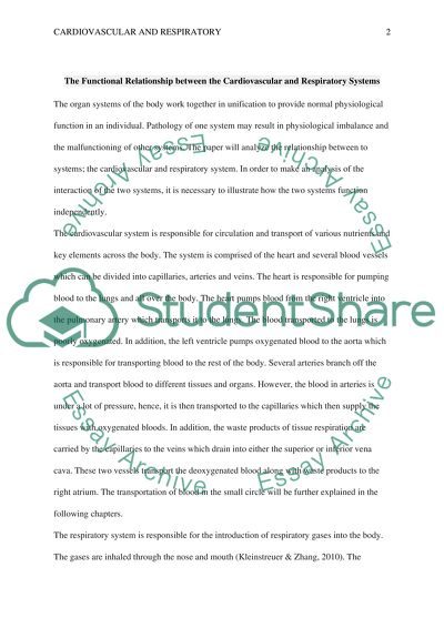 Interview Essay Paper The Functional Realationship Between The Cardiovascular And Respiratory  Systems High School Essay Samples also Literary Essay Thesis Examples The Functional Realationship Between The Cardiovascular And Essay Sample Essays For High School