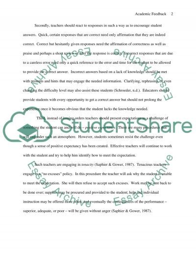 Academic feedback Essay example