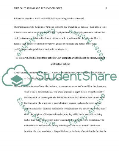 Critical Thinking & Application Paper - Case Study essay example