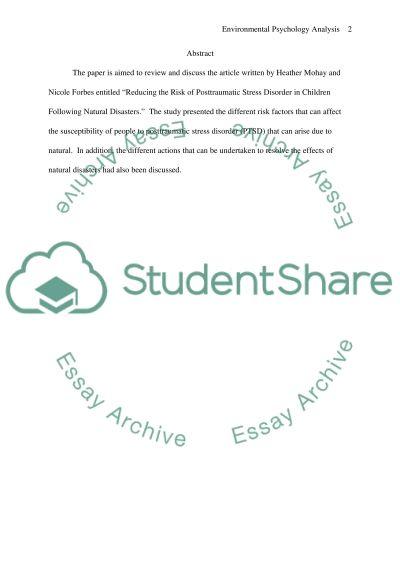 Environmental Psychology Article Analysis essay example