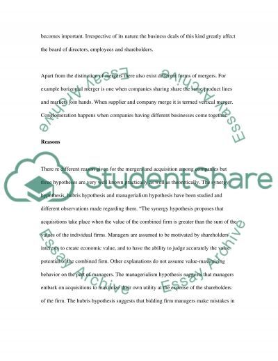 Mergers & Acquisitions essay example