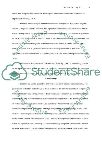 Paper Critique essay example