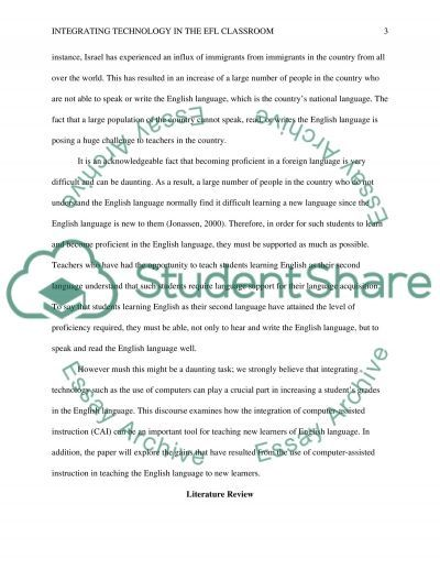 Intigrating technology in the EFL classroom essay example