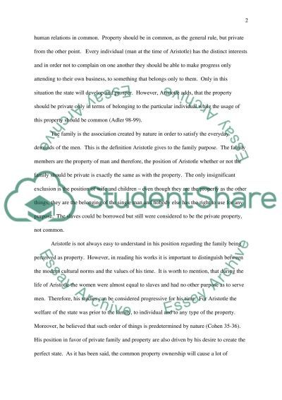Aristotle on property and family essay example