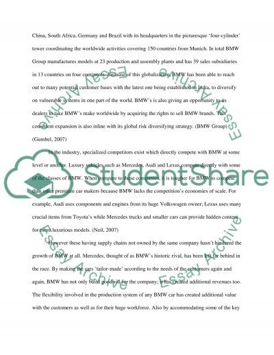 BMW Global Competitive Analysis essay example