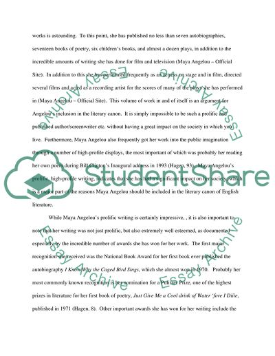 Maya Angelou Essay Example | Topics and Well Written Essays - 1000 words