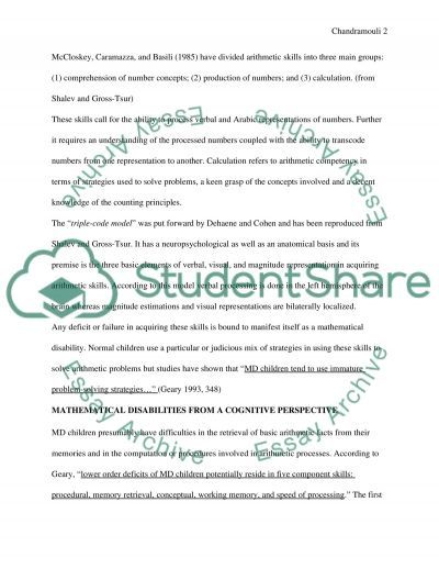 Mathematical Cognition and Mathematical Learning Difficulties essay example