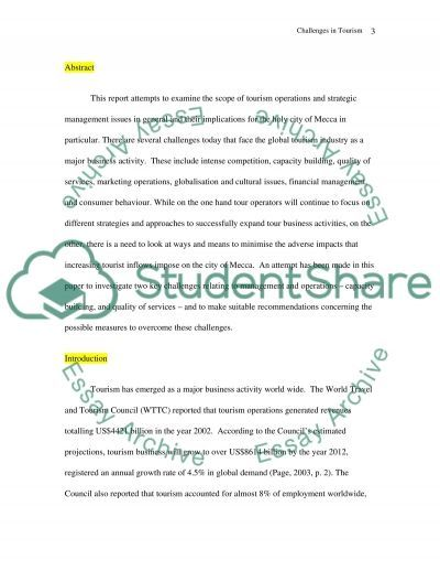 Tourism Operation Management essay example