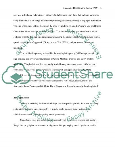 Automatic identification systems (AIS) essay example