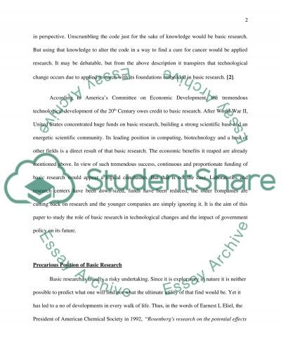 Role of Basic Research in Technological Change essay example