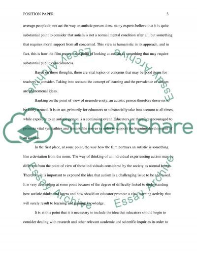 Position Paper essay example