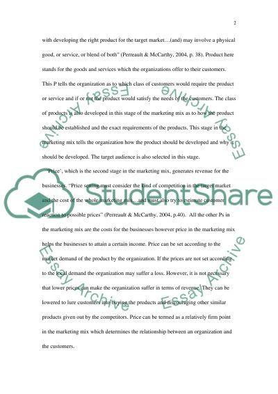 Marketing Mix Master Essay essay example