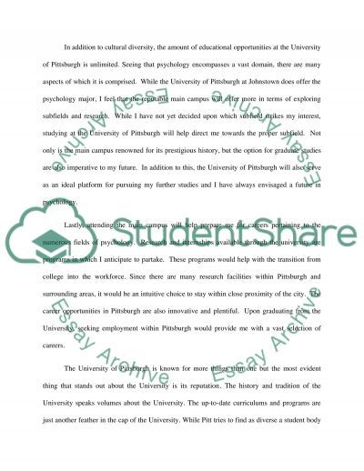 Transfer admission essay for University of Pittsburgh