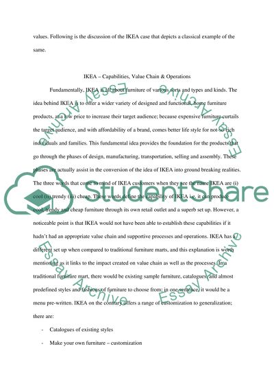 Business essay on company capabilities and value chain