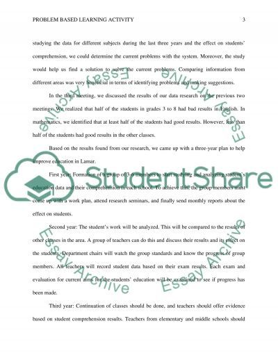 Problem based learning activity essay example