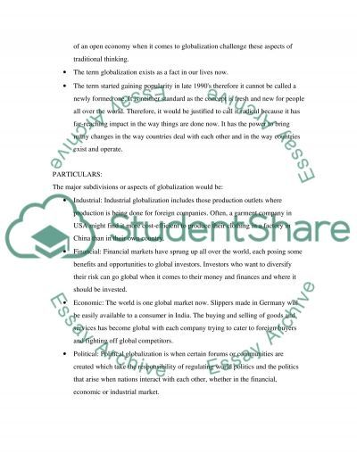 The main concept of globalization essay example