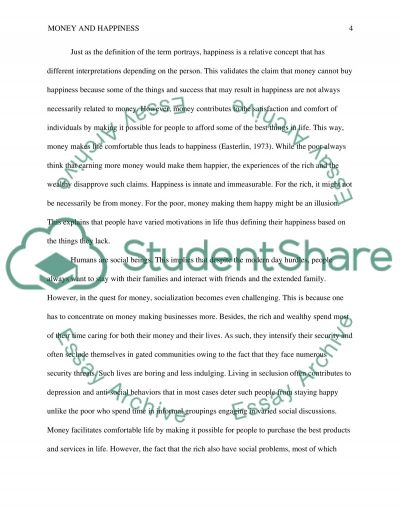 Money and happiness essay