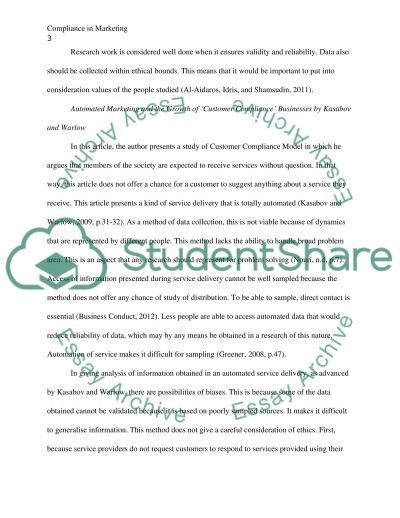 Compliance in Marketing essay example